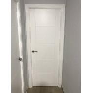 Puerta lacada en blanco modelo de 6 ranuras