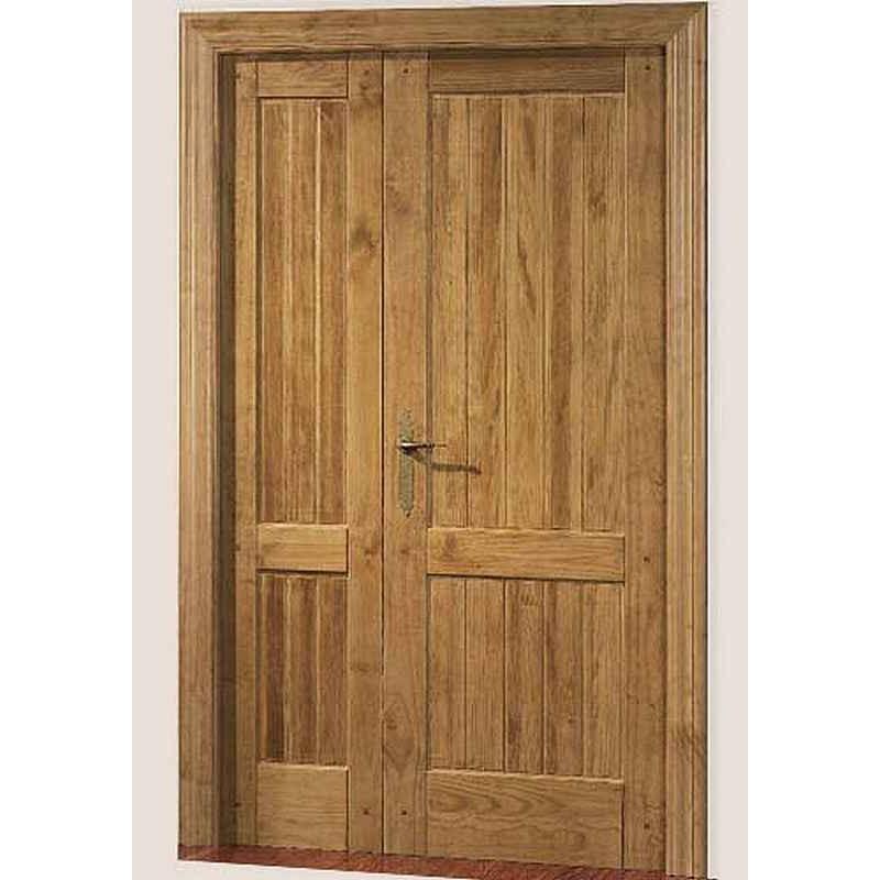 Puerta de madera maciza con tableros for Puertas entrada madera maciza precios